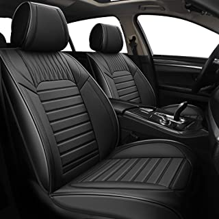 YUHCS 2 PCs Car Seat Covers - Front Seat Faux Leather Non-Slip Vehicle Cushion Cover, Waterproof Car Seat Protectors Automotive Interior Accessories for Most SUV Cars Pickup Truck Black