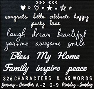 Letter Board Letters and Words for Changeable Boards and Felt Letterboards - 371 Piece All White Mega Bundle | 45 1-3 Inch Cursive Words | Characters, Letters | Plastic Letter Set, Words, Bag Only