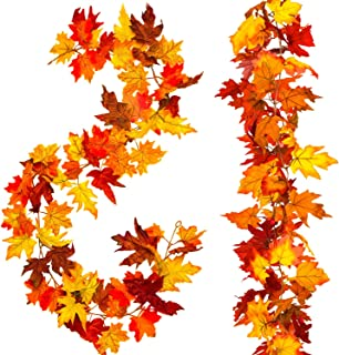 Whaline 2 Pcs Artificial Autumn Maple Leaves Garland, Fall Hanging Plant for Home Garden Wall Doorway Backdrop Fireplace Decoration, Wedding Party Thanksgiving Decor (Deep)