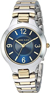 Anne Klein Womens Quartz Watch, Analog Display and Stainless Steel Strap AK1451NVTT Two Tone