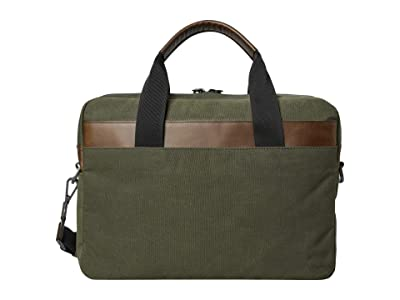 Shinola Detroit Mack Brief Waxed Canvas/Navigator GM (Moss) Briefcase Bags