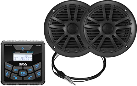 $117 Get Boss Audio Systems MCKGB450B.6 Weatherproof Marine Gauge Receiver and Speaker Package - IPX6 Receiver, 6.5 Inch Speakers, Bluetooth Audio, USB MP3, AM FM, NOAA Weather Band Tuner, NO CD Player