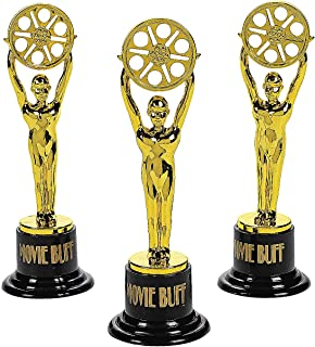 Fun Express - Movie Buff Gold Trophy - 1dz - Stationery - Awards - Trophies & Awards - 12 Pieces