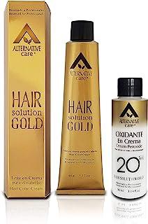 Tinte en crema Profesional ALTERNATIVE CARE - HAIR SOLUTION GOLD con su Oxidante en Crema. Coloración Permanente para el C...
