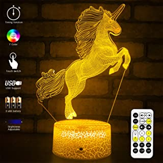 MH Zone 3D Night Light Unicorn for Kids Night Lights Bedside Lamp 7 Colors with Timer & Smart Touch Changing Remote Control, The for Boys Kids Women Girls (Unicorn)