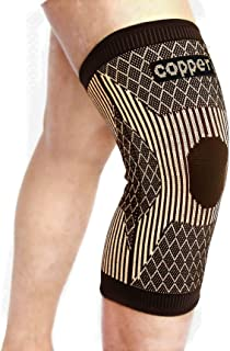 Copper Knee Brace for Arthritis Pain and Support-Copper Knee Compression Sleeve for Sports,Workout,Arthritis Relief-Single (L)