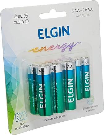 Kit Econômico de Pilhas Alcalinas com 6X AA e 2X AAA, Elgin, Baterias