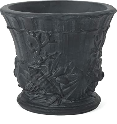 """Christopher Knight Home Guava Outdoor 15"""" Cast Stone Urn, Antique Black"""
