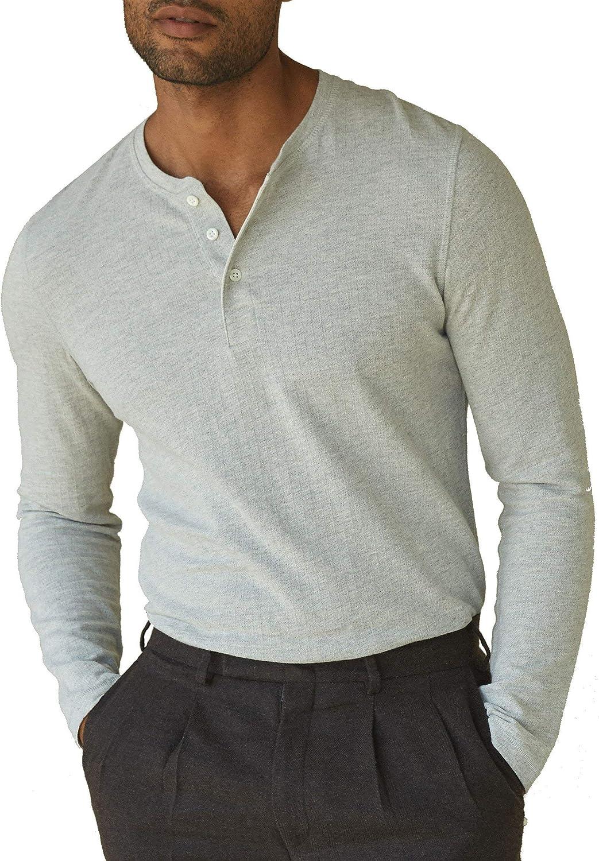 Billy Reid Mens Mens Herringbone Terry Henley Henley Shirt
