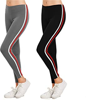 Eazy Trendz Exclusive Womens Jogger Gym Yoga Sports & Fitness Cashual Side Striped Ankle Length Leggings Tights with Stretchable Thick Spandex Rib Cotton Fabricating (Free Size) (Pack of 2)