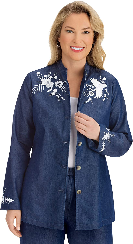 Stylish Floral Embroidered Soaring Crane Blue Denim Jacket