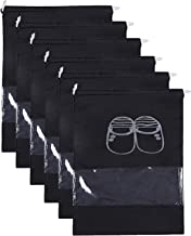 Kuber Industries Non Woven 6 Pieces Shoe Cover/Shoe Beg (Black)-CTKTC13385