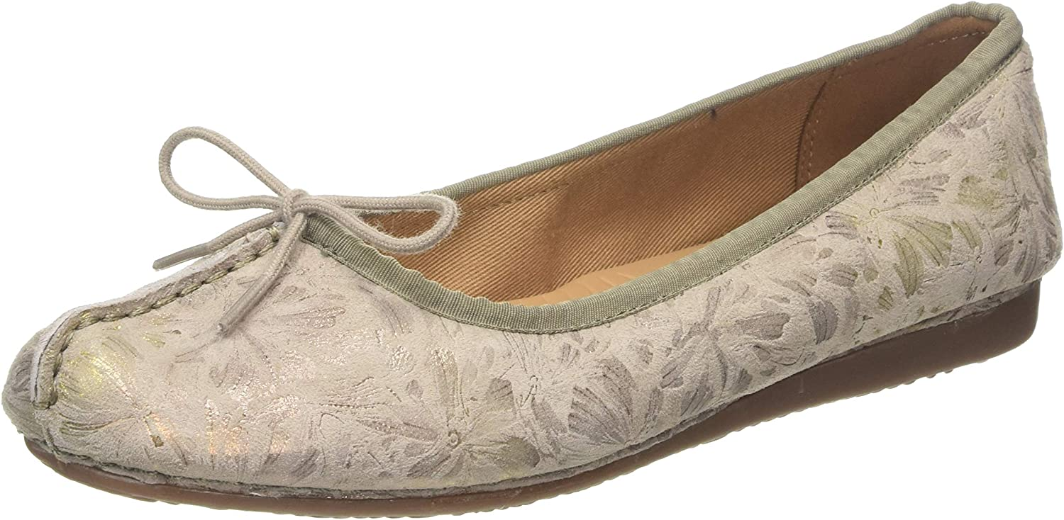 Clarks Women's Freckle Ice Ballet Flats, Grey (Taupe Leather Taupe Leather)