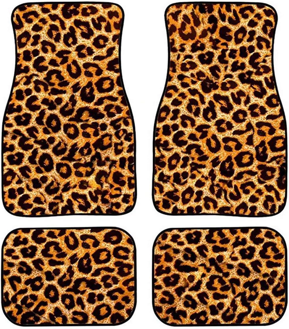 AFPANQZ Leopard Print Max 58% OFF Max 88% OFF Car Floor Mats 4 Rear Universal Fit Front