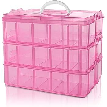BELLE VOUS Caja Almacenamiento Plastico Rosado 3 Niveles - Ranuras de Compartimentos Ajustables - Caja Organizadora Plastico Transparente - Máximo 30 Compartimentos - Guardar Juguetes Joyas, Cuentas: Amazon.es: Hogar