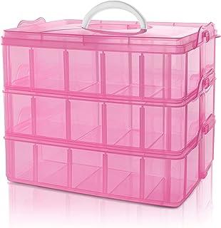 BELLE VOUS Caja Almacenamiento Plastico Rosado 3 Niveles - Ranuras de Compartimentos Ajustables - Caja Organizadora Plastico Transparente - Máximo 30 Compartimentos - Guardar Juguetes Joyas, Cuentas