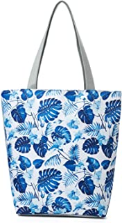 Women's Top-Handle Bags,100% Cotton Canvas Tropical Ethnic Style Flower Tote Bag Shopping Portable Bags