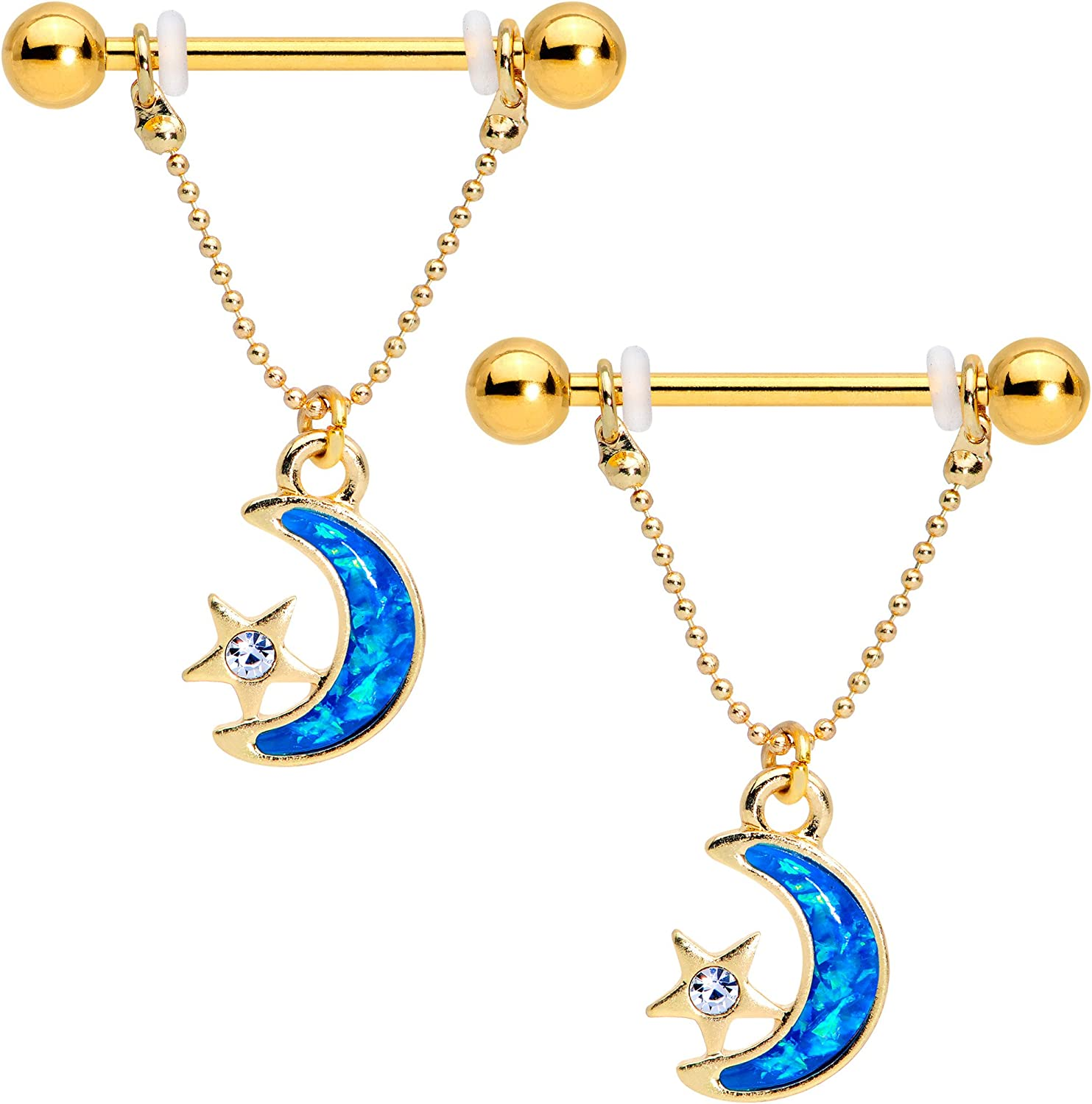 Body Candy Gold PVD Clear Accent Blue Moon Star Dangle Barbell Nipple Ring Set of 2 14 Gauge 9/16