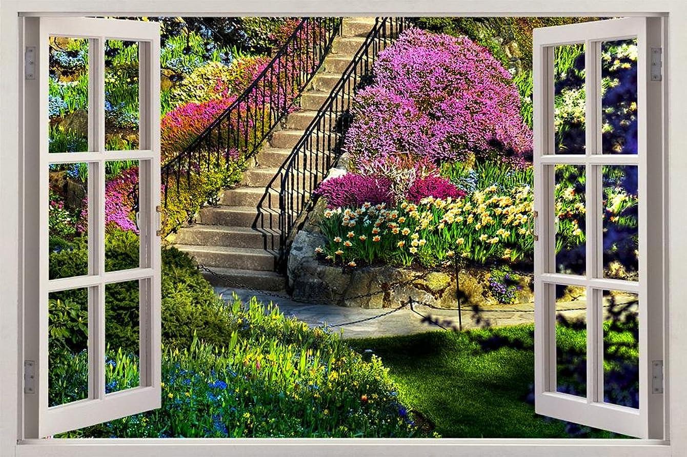 Garden View 3D Window Decal WALL STICKER Home Decor Art Mural Flowers C639, Regular
