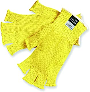 MCR Safety 9373M Kevlar Regular Weight 7 Gauge Fingerless Gloves, Yellow, Medium, 1-Pair