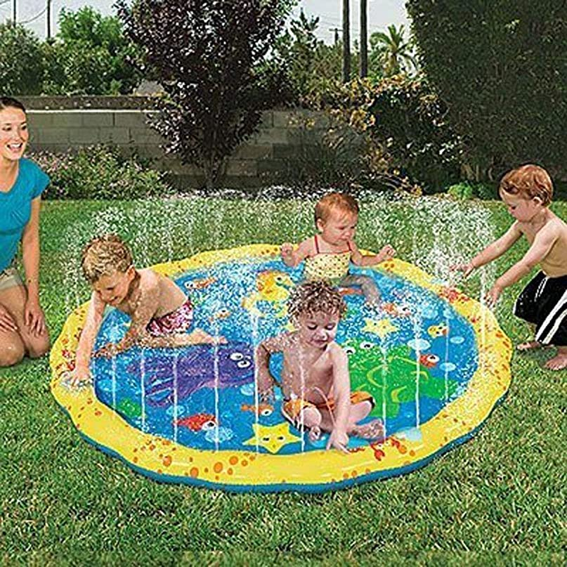 鮮やかなスラダム海洋プレイマット 噴水マット スプリンクラートイ ビーチトイ 子供のおもちゃ キッズ アウトドア ビーチ 芝生 庭 プール 夏の日