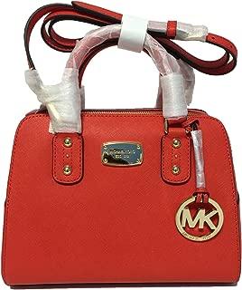 Small Satchel Mandarin Orange Saffiano Leather Handbag