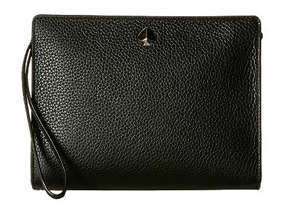 Kate Spade New York Medium Wristlet (Black) Clutch Handbags