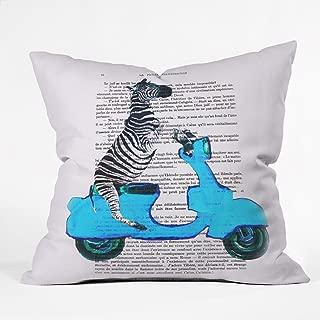Deny Designs Coco de Paris Zebra On Blue Vespa Throw Pillow, 18 x 18