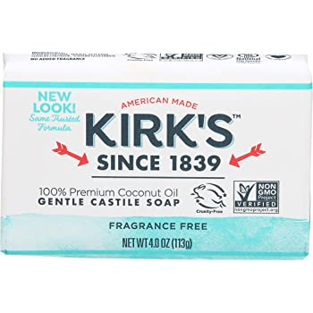 Kirk's Natural Original Coco Castile Soap Fragrance Free, 4 Ounce (Packaging may Vary)