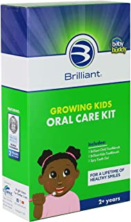 Growing Kids Oral Care Kit of Baby Buddy by Brilliant's Oral Care Program - Includes Brilliant Child Toothbrush, Brilliant Kids Toothbrush & 2oz Spry Strawberry-Banana Tooth Gel, 2+ Years, Green