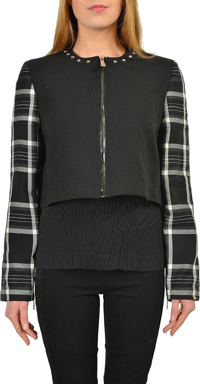 Just Cavalli Wool Black Full Zip Women's Cropped Basic Jacket US S IT 40