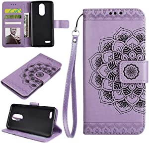 2017 Case THRION Half Mandala Flower Leather Flip Wallet Cover with Card Slot Holder and Magnetic Closure for 2017  Purple