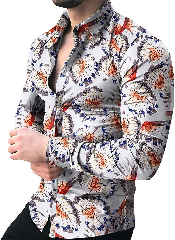 FUNEY Mens Floral Shirt Casual Long Sleeve Flower Print Button Down Dress Shirt Fashion Casual Retro Yoga Cotton Shirts