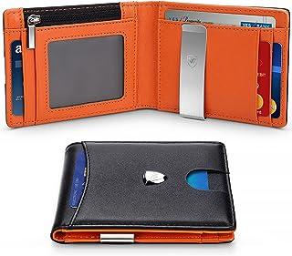 Wallets Mens RFID Blocking with Money Clip, Bi-fold Slim Genuine Leather Men Wallet with Coin Pocket, Credit Card Slots, I...