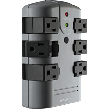 Belkin 6-Outlet Pivot-Plug Surge Protector w/ Wall Mount - Ideal for Mobile Devices, Personal Electronics, Small Appliances and More (1,080 Joules)