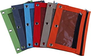 Antner 3 Ring Pencil Pouch with Mesh Window, B5 Zipper Binder Pencil Pouches Binder Pockets 2 Compartments Zippered Folders Bags, 6 Pack