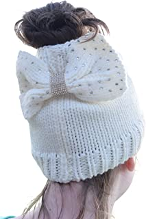 Nickanny's Messy Bun Beanie Slouchy Style Hole for Ponytail Hat Rhinestone Studded Bow