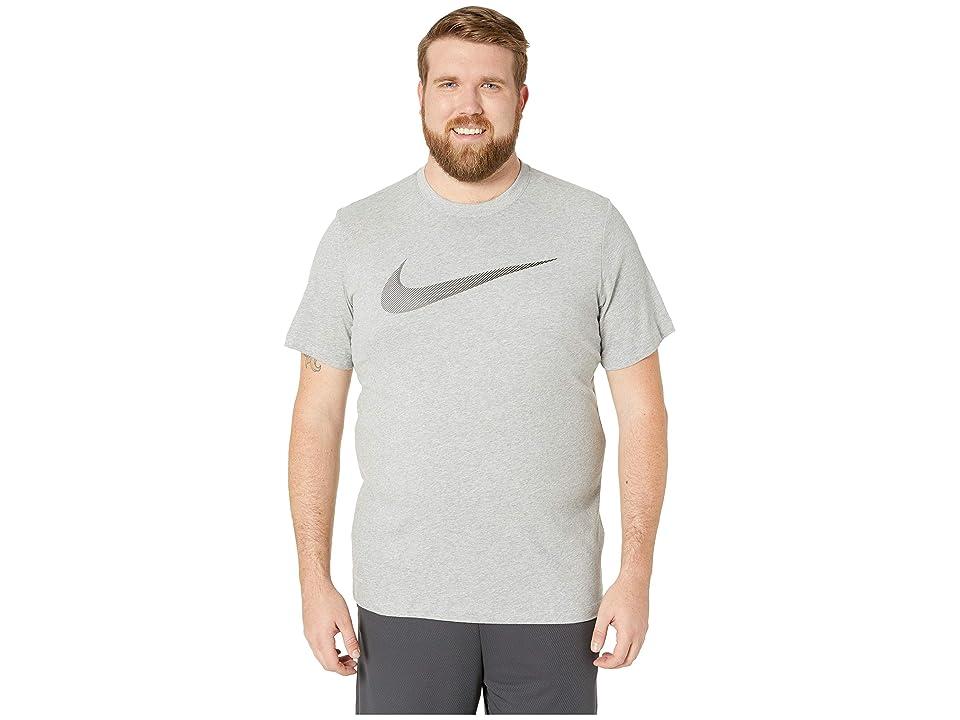 e1c80ab47 Nike Big Tall Dry Tee Dri-Fit Cotton 2 Year Swoosh (Dark Grey Heather/Gunsmoke)  Men's T Shirt