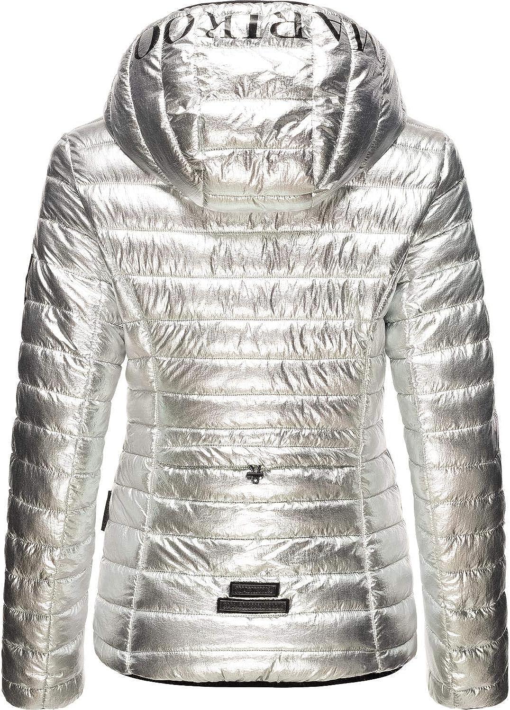 Marikoo Damen Winterjacke Steppjacke Outdoorjacke mit Kapuze Jaylaa XS-XXL Silver