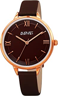 August Steiner AS8263 Designer Women's Watch - Genuine Leather Bracelet Strap, Enamel Dial with Grooved Border Lines - 3 Handed Quartz Movement