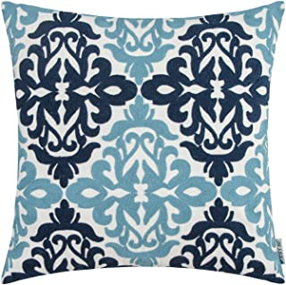 HWY 50 Embroidered Decorative Throw Pillow Covers Cushion Cases for Couch Sofa Living Room 18 x 18 inch Modern Navy Blue Light Blue Floral Geometric Decor 1 Piece