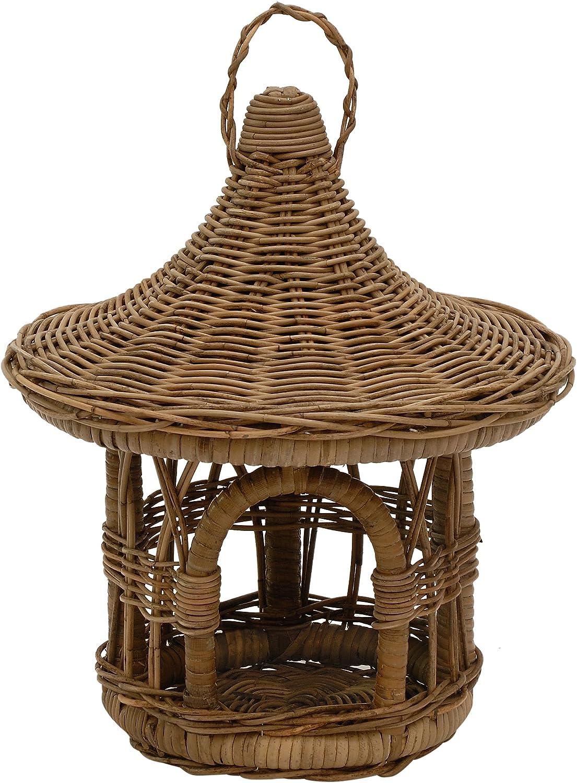 Bird House Feeder Rattan Grey Round Bird House