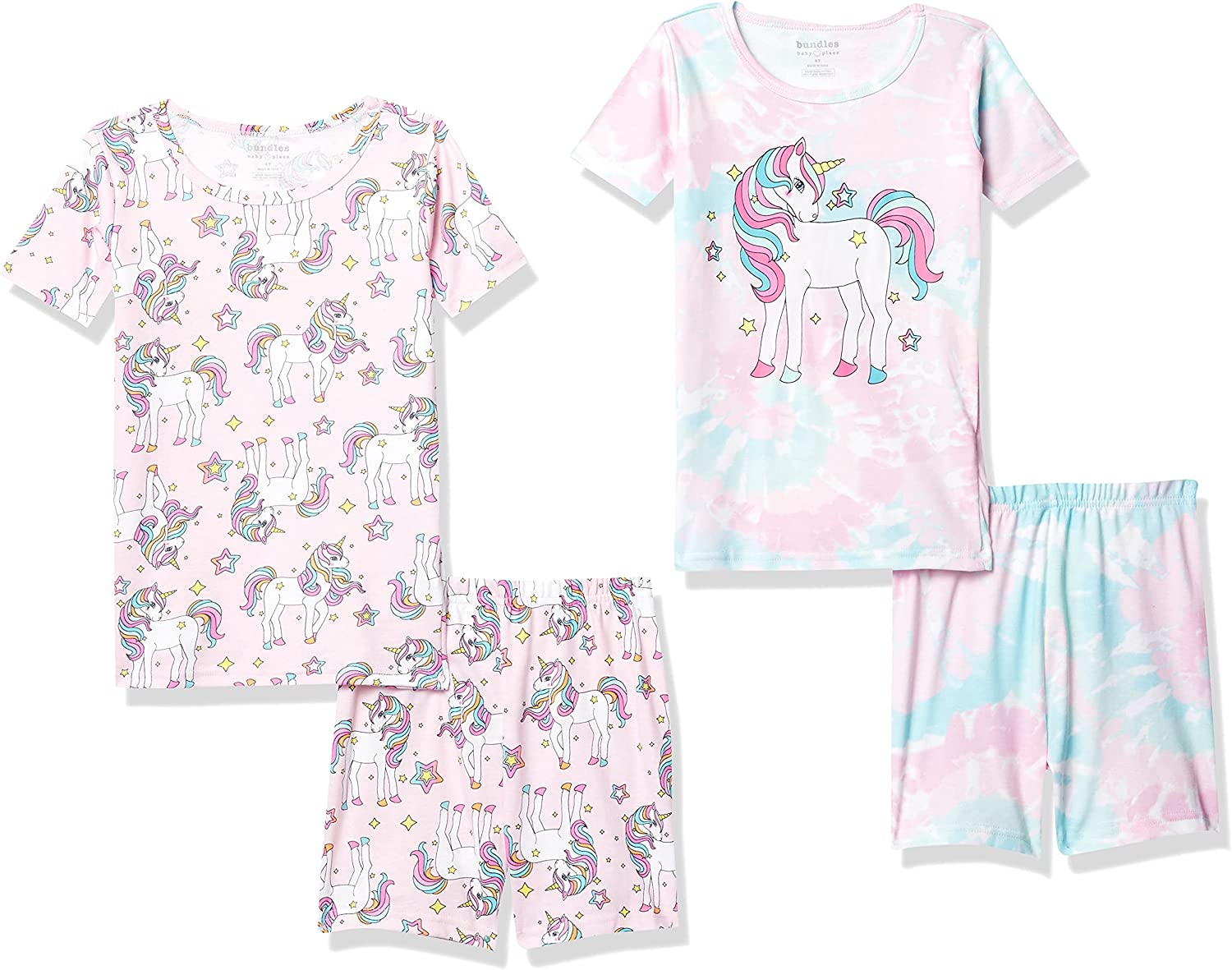 The Children's Place Baby And Toddler Girls Unicorn Snug Fit Cotton 4-Piece Pajamas