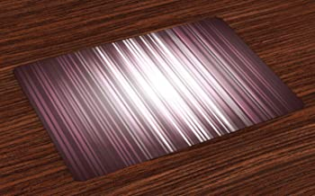 Ambesonne Purple Place Mats Set of 4, Futuristic Digital Style Stripes and Rays in Unusual Abstraction, Washable Fabric Placemats for Dining Room Kitchen Table Decor, Plum Mauve Grey