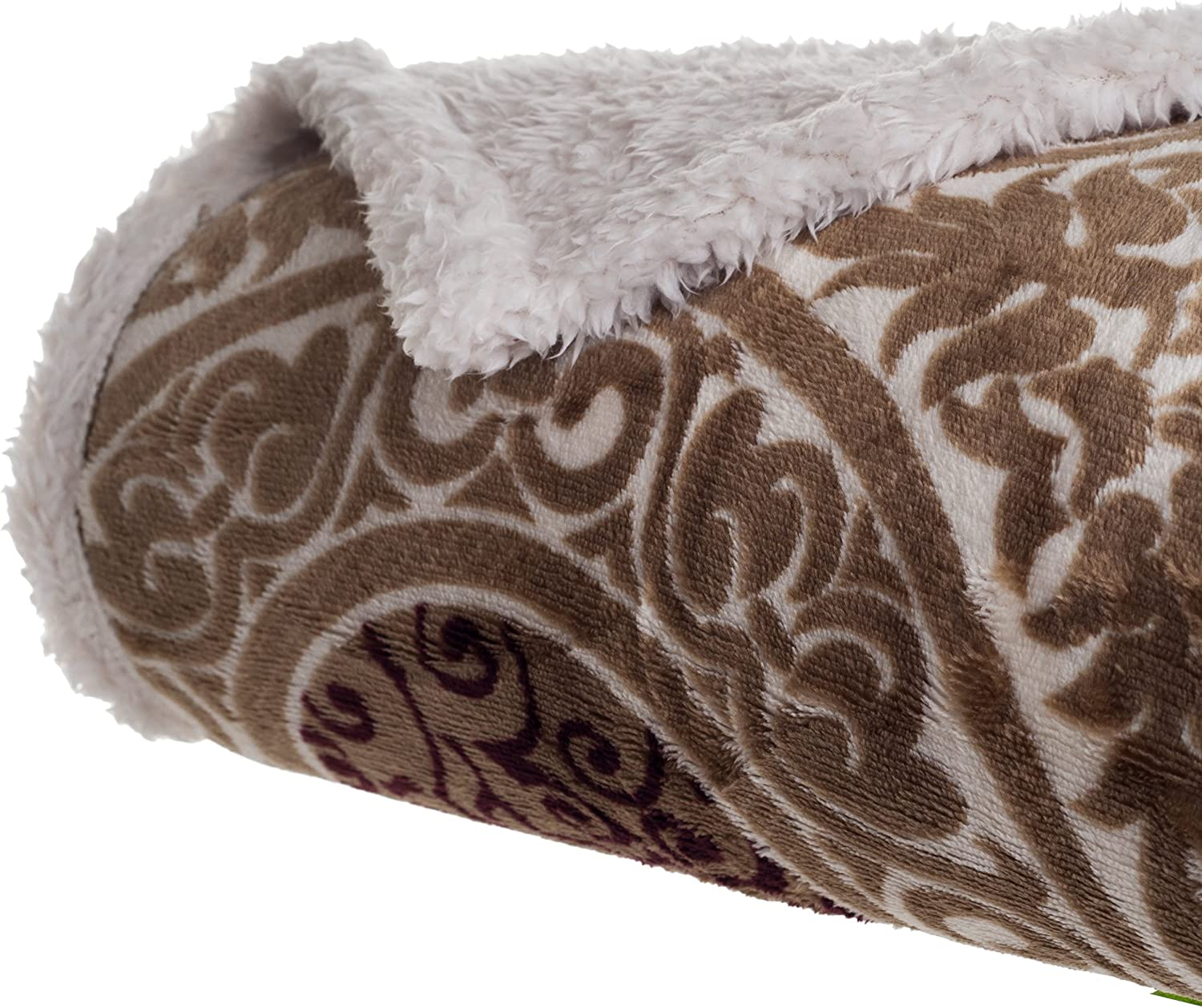 Lavish Home San Jose Mall Printed Coral Don't miss the campaign Soft Sherpa Throw Fleece Blanket Brow