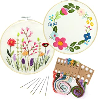 2 Pack Embroidery Kit, Full Range of Embroidery Starter Kit with Pattern DIY Embroidery Kit for Beginner Including Embroidery Cloth, Embroidery Hoop, Threads, Tools Kit (Floral Hoop & Flowers)