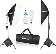 """Emart 1050 Watt Softbox Photography Lighting Kit with Sandbags 20"""" x 28""""/ 50 x 70 cm Continuous Lighting Equipment 2pcs 105W 5500K Photo Video Lighting Bulb for Product Shooting, Portraits and Filming"""