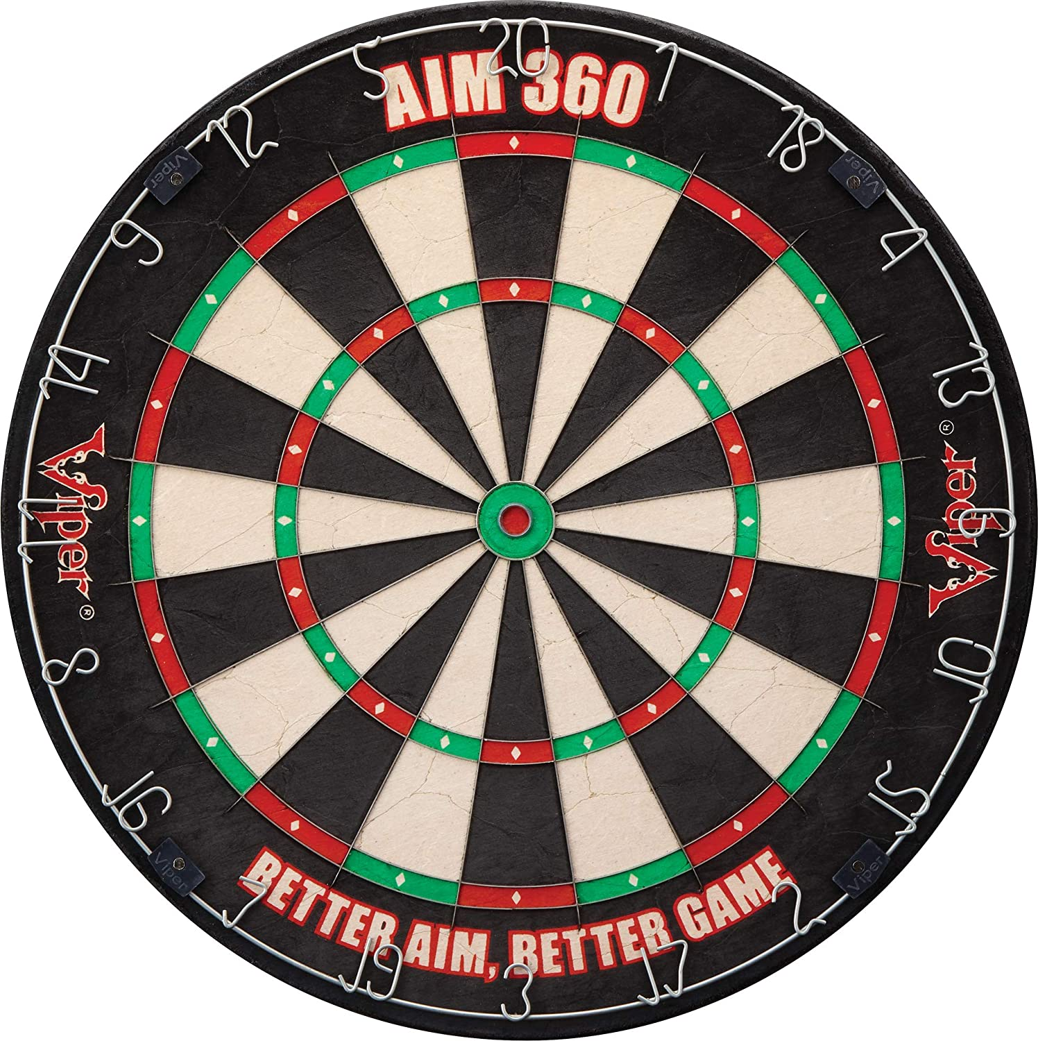 Viper AIM 360 Tournament Bristle Steel Tip Dartboard Set with StapleFree Razor Thin Metal Spider Wire for Increased Scoring, Reduced Bounce Outs; SelfHealing PremiumGrade Sisal Board, Aiming Marks, Movable Target Circles for Focused Training
