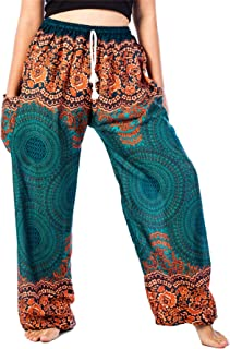 Lofbaz Women's Peacock Floral Drawstring Boho Yoga Harem Pants