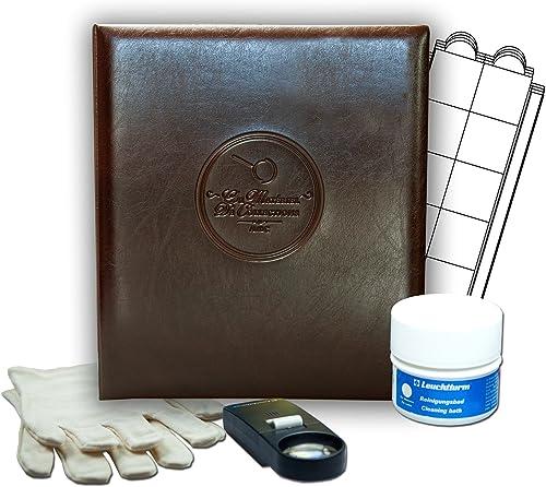 Album Marron pour 327 monnaies, assortiHommest de 10 feuilles numismatiques, pour des pièces de 20 mm à 46 mm, un bain nettoyant toutes monnaies, loupe et une paire de gants pour numismate